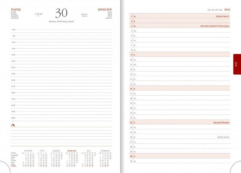 Kalendarz książkowy 2021 B5 dzienny papier biały drukowane registry