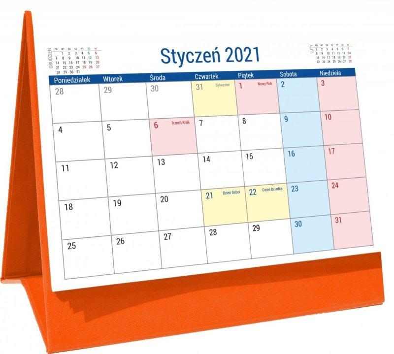 Kalendarz biurkowy stojący na podstawce PLANO 2021 pomarańczowy