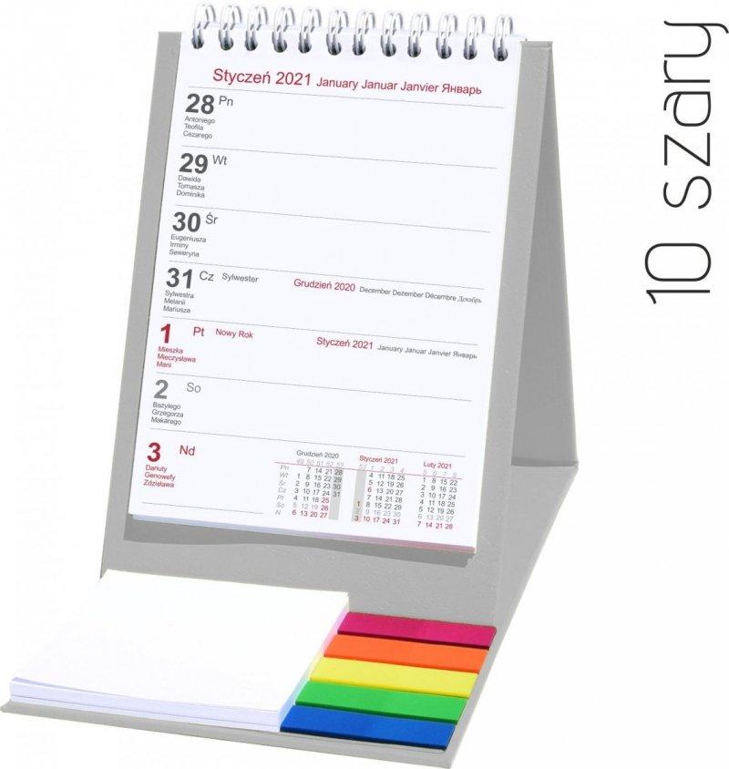Kalendarz biurkowy z notesem i znacznikami TOP tygodniowy 2021 szary