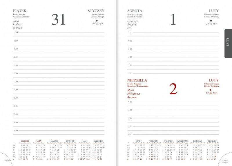Kalendarz książkowy 2020 A5 dzienny papier biały perforacja