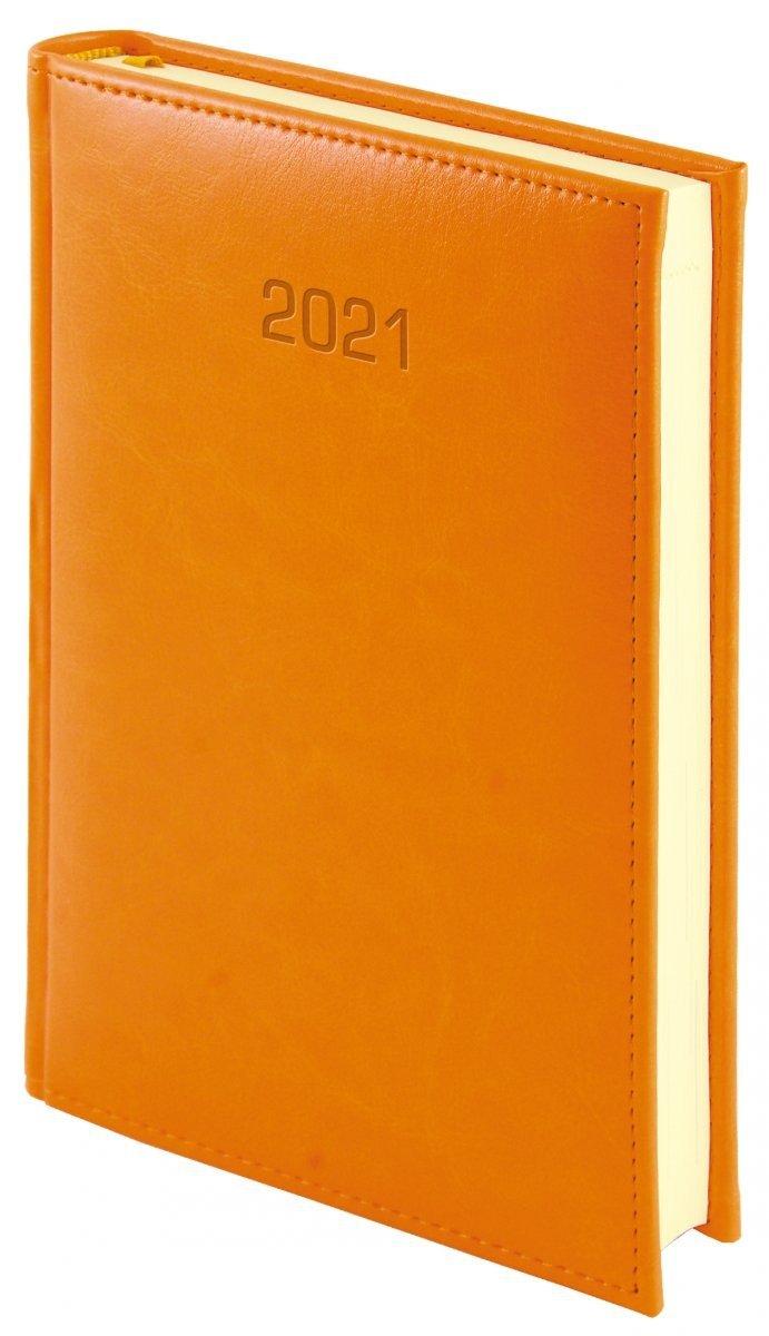 Kalendarz książkowy 2021 A4 tygodniowy Z NOTESEM oprawa NEBRASKA pomarańczowa - oprawa skóropodobna