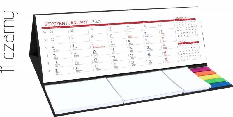 Kalendarz biurkowy z notesami i znacznikami MAXI 2021 czarny