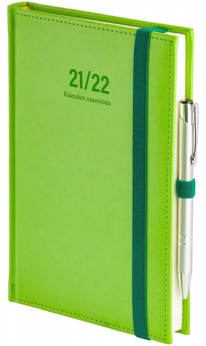 Oprawa kalendarza dla nauczyciela Nebraska z zamykaniem na gumkę i mocowaniem na długopis w kolorze seledynowym