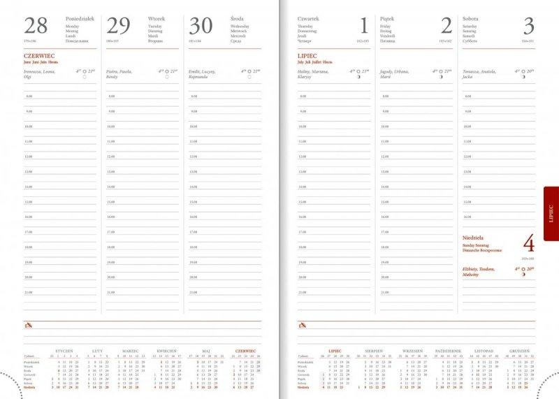 Kalendarz książkowy 2020 A4 tygodniowy papier biały drukowane registry