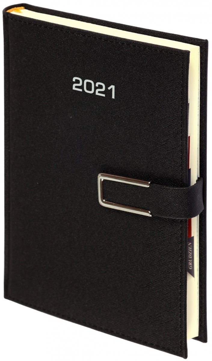 Kalendarz książkowy 2021 A5 dzienny oprawa ROSSA CHROMO czarna - oprawa zamykana na magnes