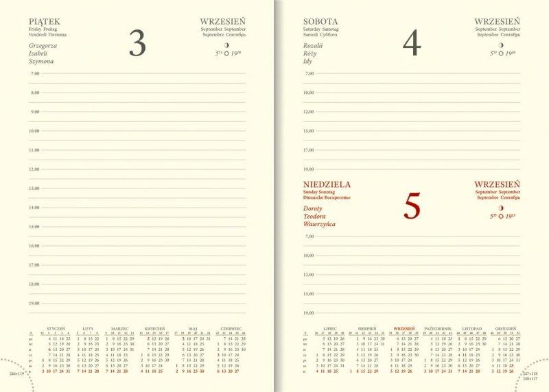 Blok na rok 2021 A5 dzienny papier chamois drukowane registry