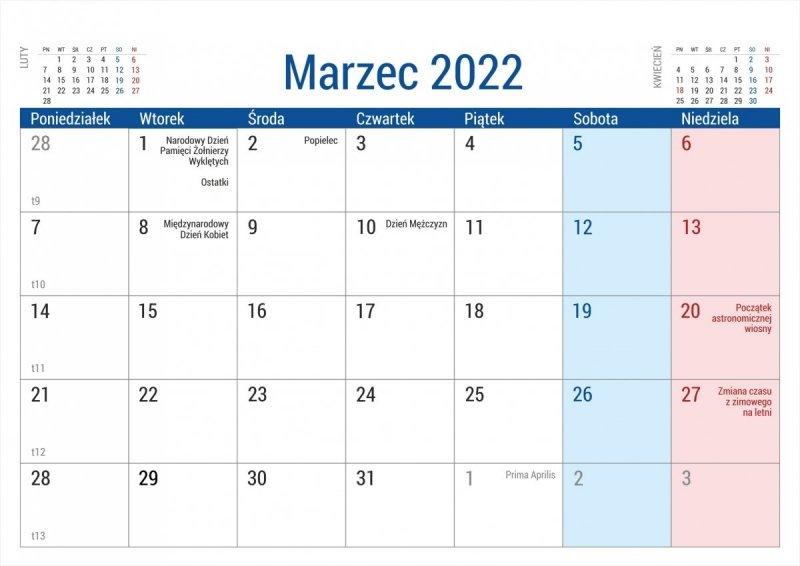 Kalendarz na biurko stojący PLANO na rok 2022 - marzec