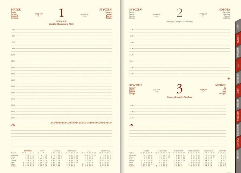 Kalendarz książkowy 2021 B5 dzienny papier chamois wycinane registry
