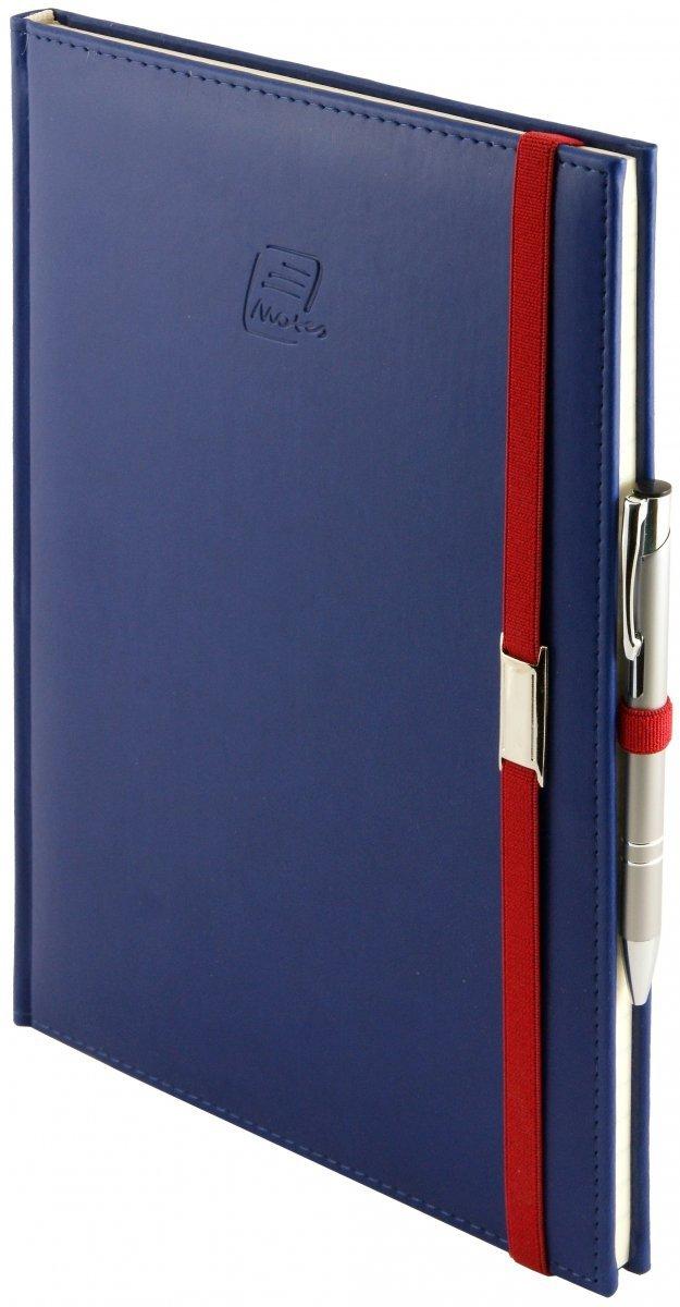 Notes A4 z długopisem zamykany na gumkę z blaszką - papier chamois w kratkę - oprawa Vivella granatowa (gumka czerwona)
