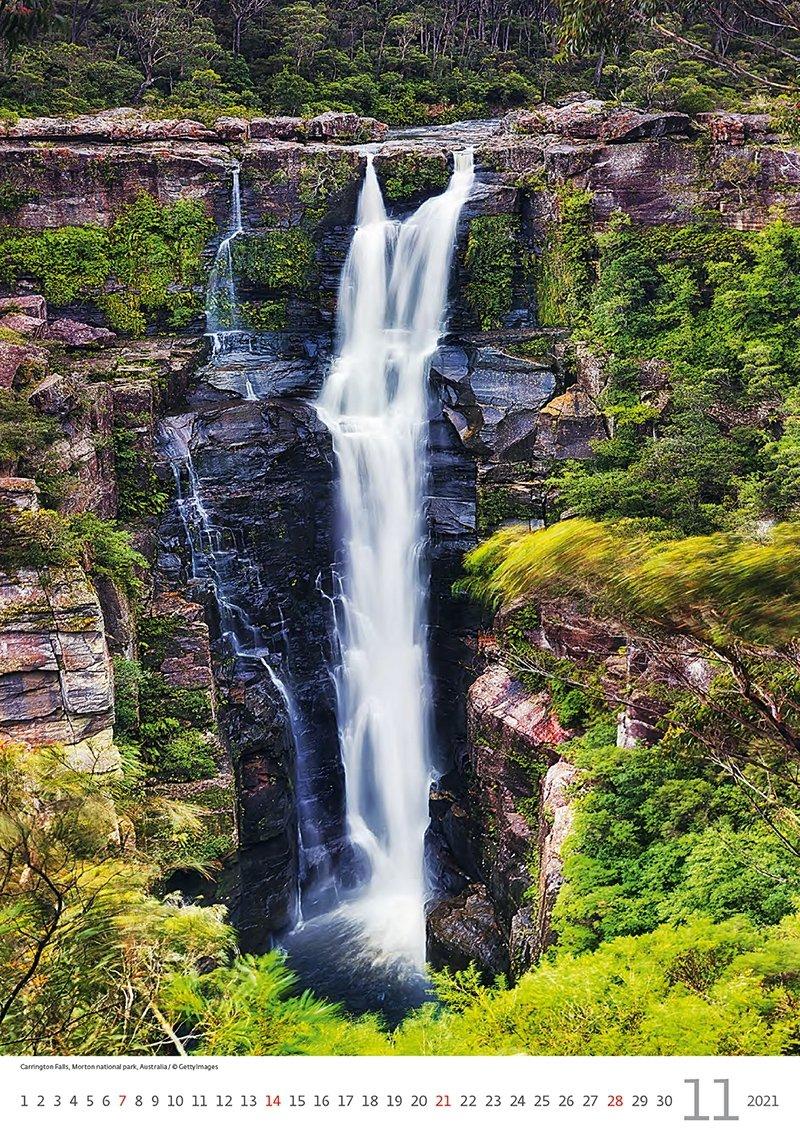 Kalendarz ścienny wieloplanszowy Waterfalls 2021 - listopad 2021