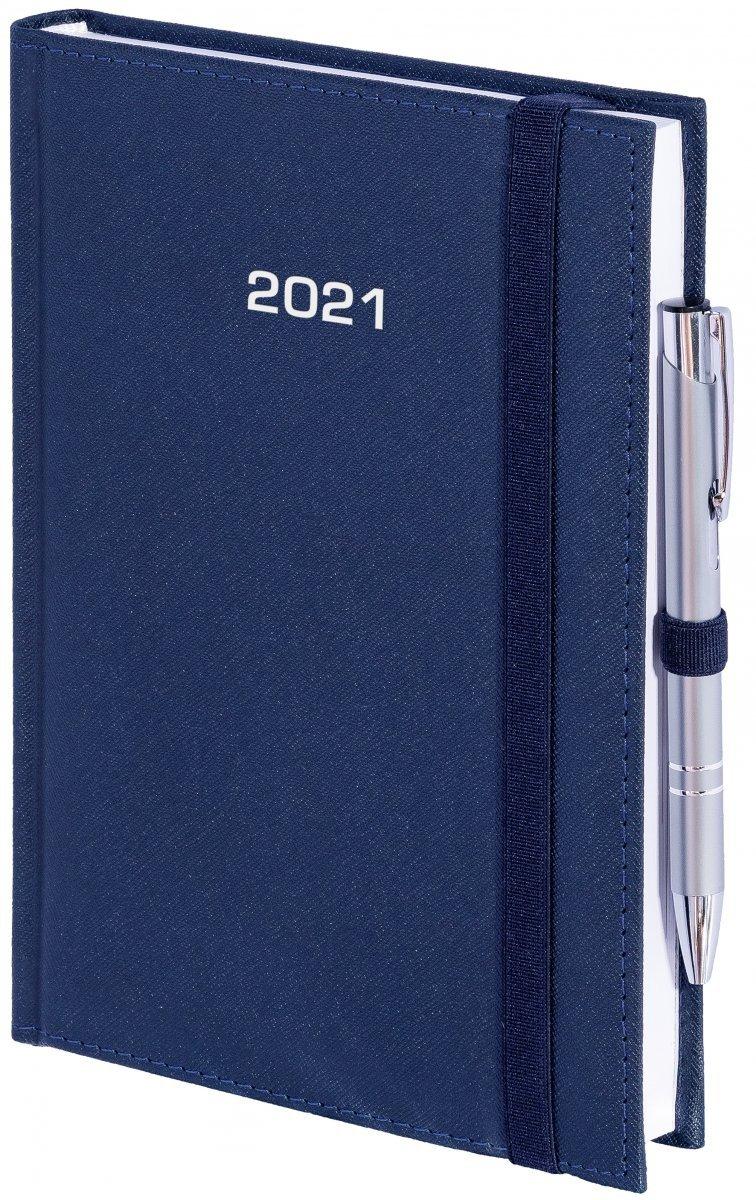 Kalendarz książkowy 2020 A4 tygodniowy oprawa ROSSA zamykana na gumkę granatowa