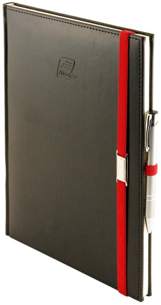 Notes A5 z długopisem zamykany na gumkę z blaszką  oprawa Vivella czarna - okładka