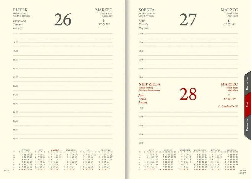 Kalendarz książkowy 2021 A5 dzienny papier chamois wycinane registry