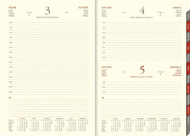 Kalendarz książkowy 2020 B5 dzienny papier chamois wycinane registry zaokrąglone narożniki