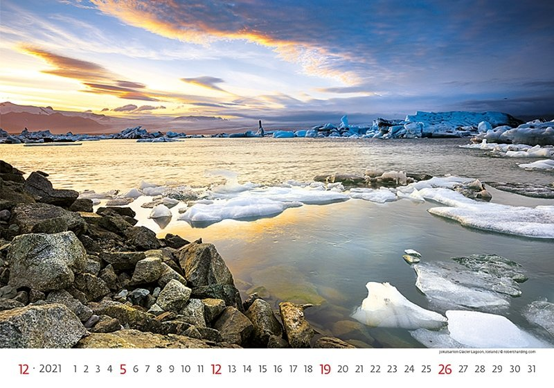 Kalendarz ścienny wieloplanszowy Landscapes 2021 - grudzień 2021