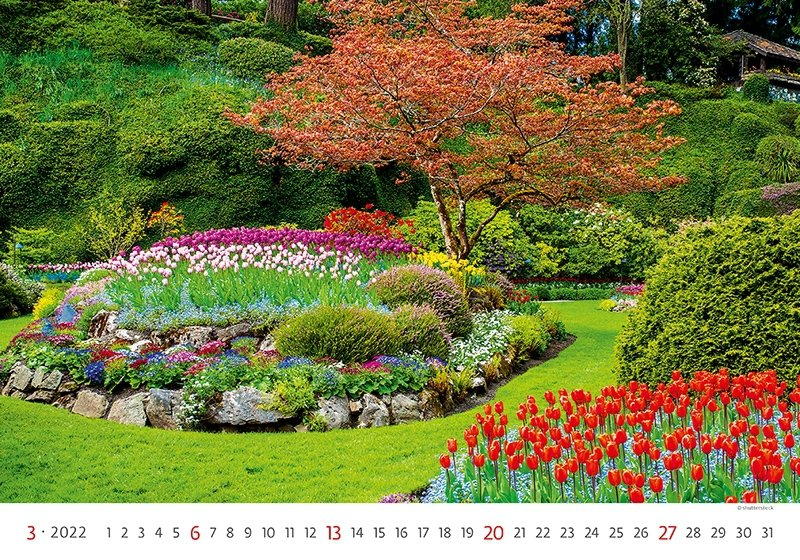 Kalendarz ścienny wieloplanszowy Gardens 2022 - marzec 2022