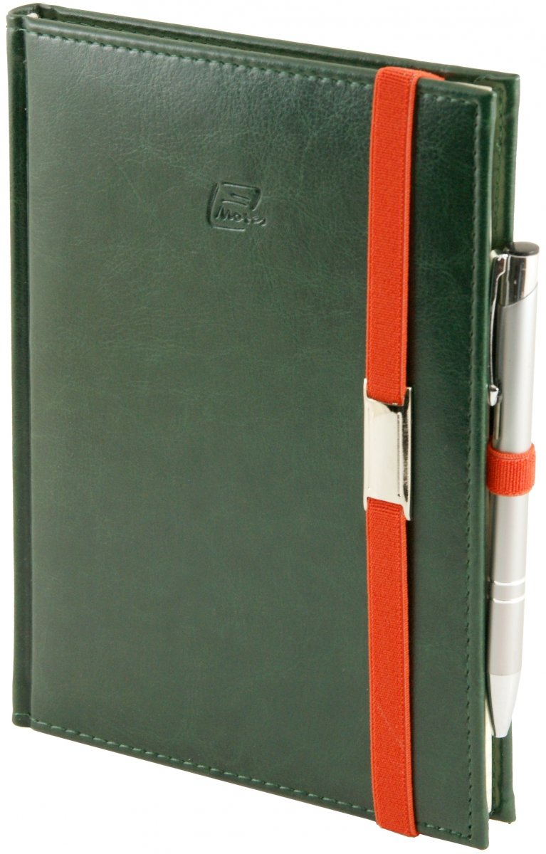 Notes A4 z długopisem zamykany na gumkę z blaszką  oprawa Nebraska zielona - okładka