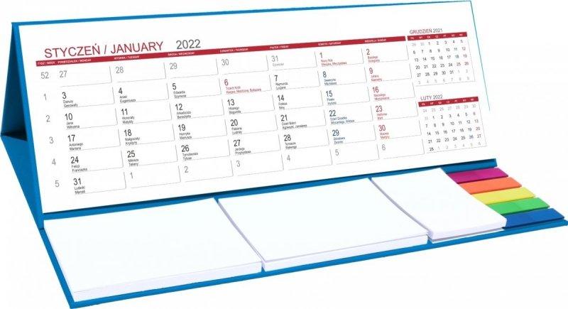 Kalendarz biurkowy z notesami i znacznikami MAXI 2022 niebieski