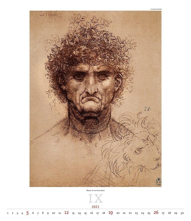 Kalendarz ścienny wieloplanszowy Leonardo da Vinci 2021 - exclusive edition  - wrzesień 2021