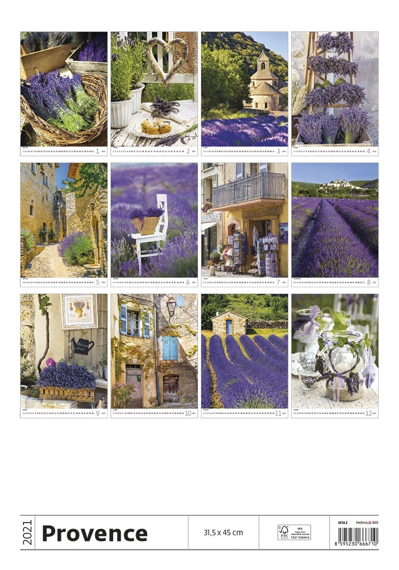Kalendarz ścienny wieloplanszowy Provence 2021 - tylna okładka