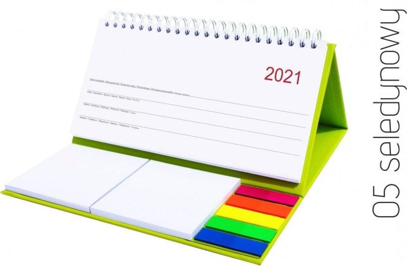 Kalendarz biurkowy z notesami i znacznikami MIDI TYGODNIOWY 2021 seledynowy