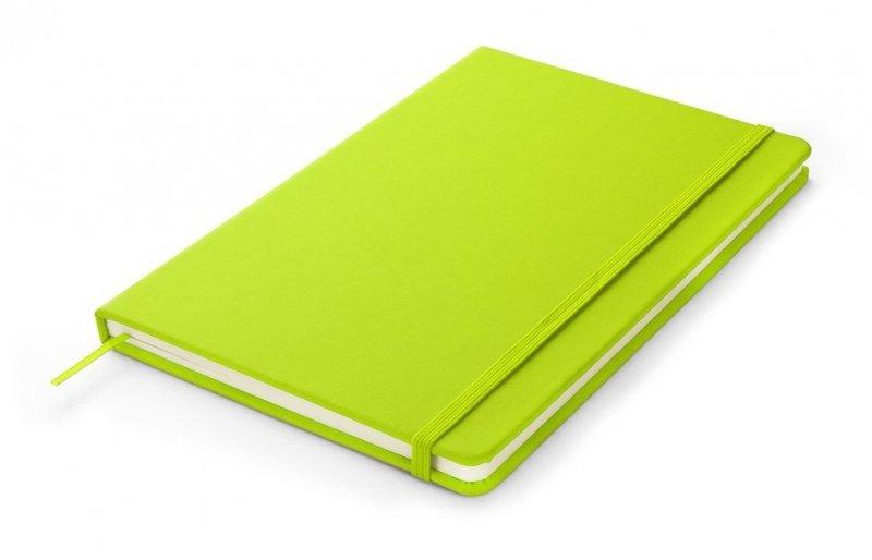 Notes A5 zamykany na gumkę - papier chamois w linie oprawa EKOSKÓRA VERONA seledynowa(gumka seledynowa)