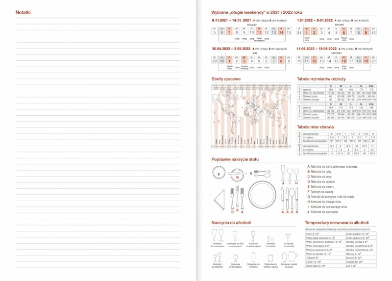 Kalendarz nauczyciela na rok szkolny 2021/2022 strona na notatki, wybrane długie weekendy, strefy czasowe itp.