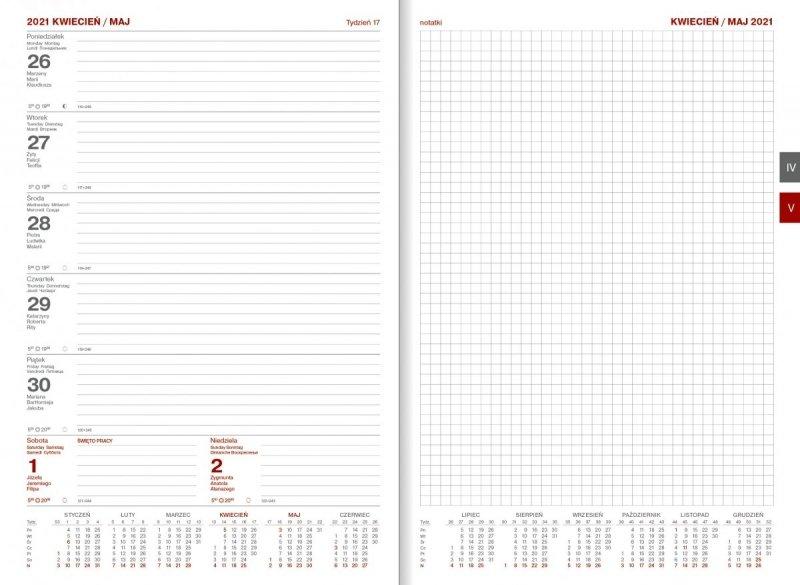 Kalendarz książkowy 2021 B5 tygodniowy Z NOTESEM papier biały