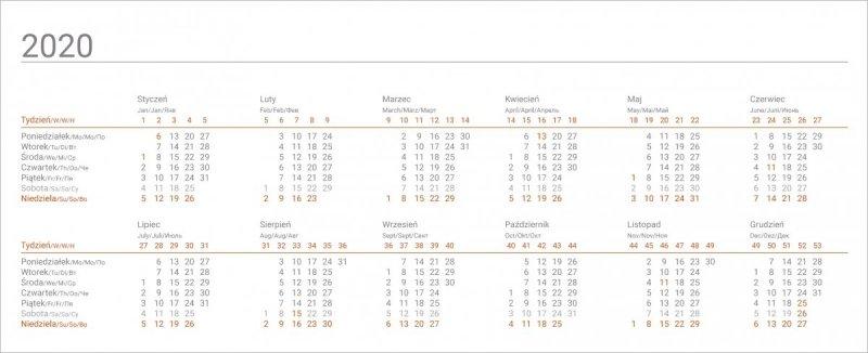 Kalendarz biurkowy stojąco-leżący BUSINESS LINE  - kalendarium