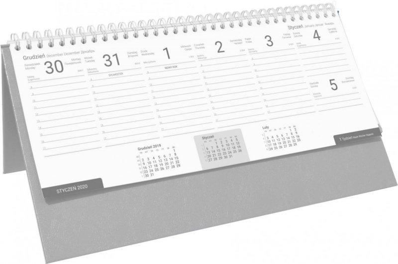Kalendarz biurkowy stojąco-leżący BUSINESS LINE oprawa Agora kolor szary