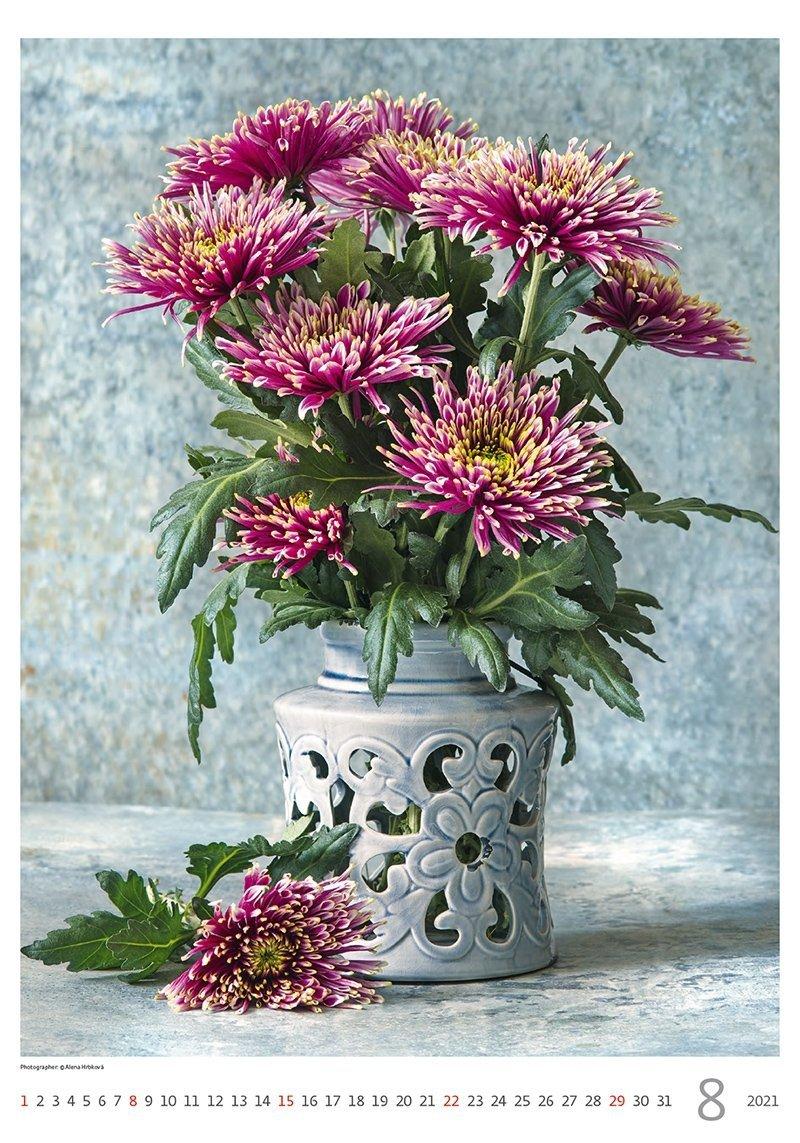 Kalendarz ścienny wieloplanszowy Magic Flowers 2021 - sierpień 2021