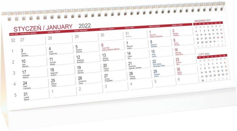 Kalendarz biurkowy stojący POZIOMY 3-MIESIĘCZNY 2022