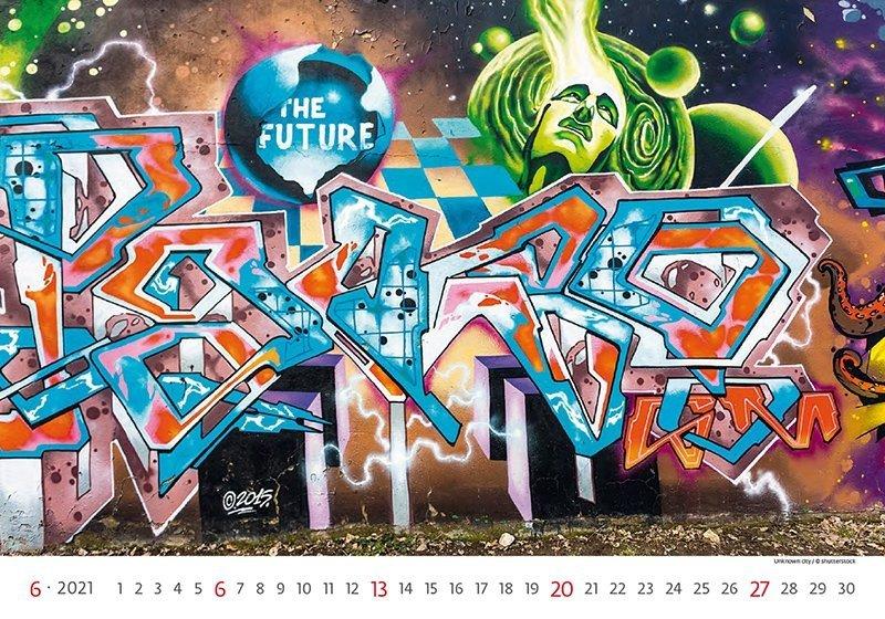 Kalendarz ścienny wieloplanszowy Street Art 2021 - czerwiec 2021