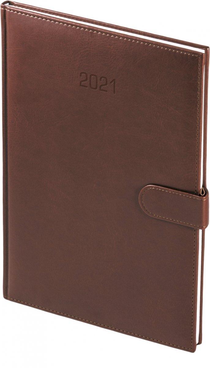 Kalendarz książkowy 2021 A4 tygodniowy papier biały drukowane registry oprawa MAGNESIAN - brązowy oprawa skóropodobna zamykana na magnes