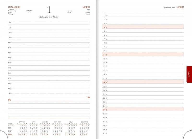 Kalendarz książkowy 2021 A4 dzienny papier biały drukowane registry