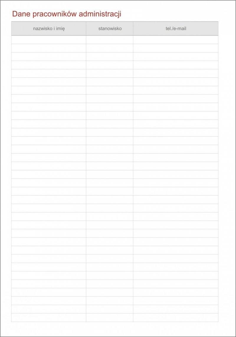 Kalendarz dyrektora - tabele Dane pracowników administracji