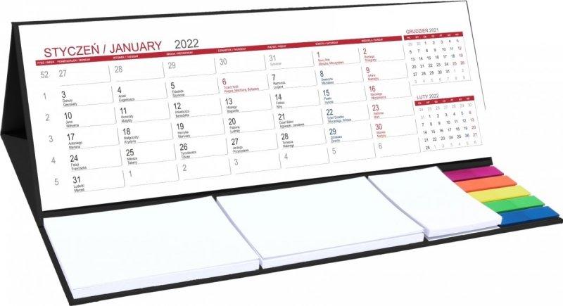 Kalendarz biurkowy z notesami i znacznikami MAXI 2022 czarny