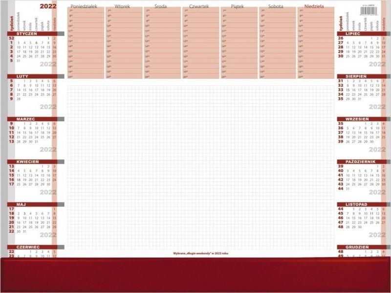 Biuwar duży A2 52-kartkowy BORDO Z LISTWĄ PCV 2022