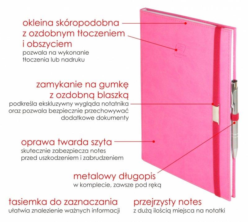 Notes A4 z długopisem w skóropodobnej okleinie z ozdobnym tłoczeniem