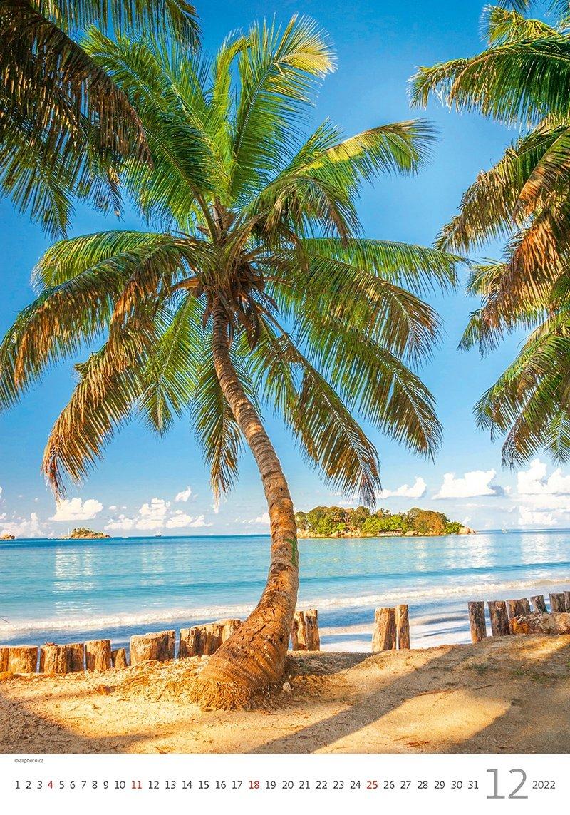 Kalendarz ścienny wieloplanszowy Tropical Beaches 2022 - grudzień 2022