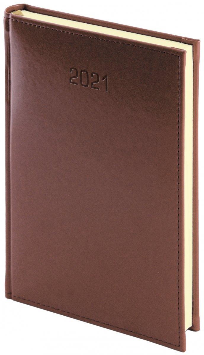 Kalendarz książkowy 2021 A5 dzienny oprawa NEBRASKA brązowa - oprawa skóropodobna