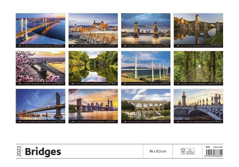 Kalendarz ścienny wieloplanszowy Bridges 2021 - tylna okładka