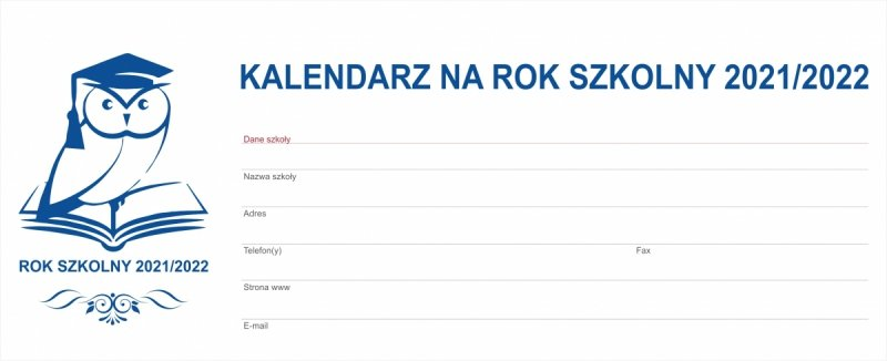 Kalendarz biurkowy tygodniowy na rok szkolny 2021/2022 PREMIUM czerwony