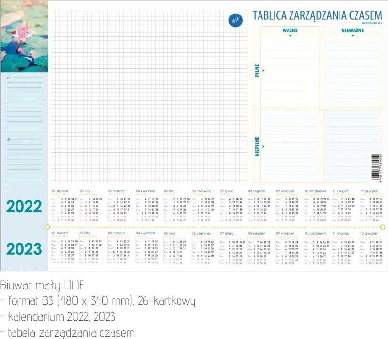 Biuwar mały B3 26-kartkowy LILIE 2022-2023 z tablicą zarządzania czasem Z OPISEM