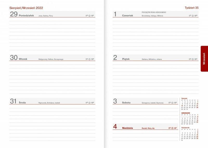 Kalendarz nauczyciela na rok szkolny 2021/2022 - skrócone kalendarium tygodniowe