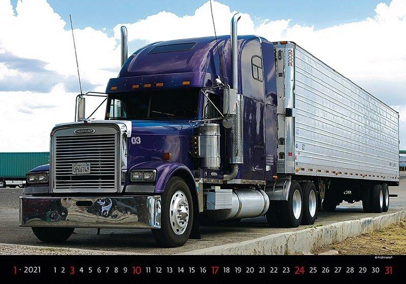 Kalendarz ścienny wieloplanszowy Trucks 2021 - styczeń 2021
