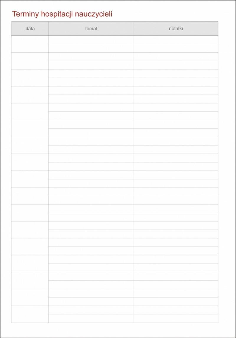 Kalendarz dyrektora - tabela Terminy hospitalizacji nauczycieli
