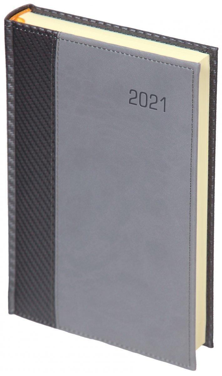 Kalendarz książkowy 2021 B5 tygodniowy oprawa CARBON - oprawa przeszywana - kolor szary