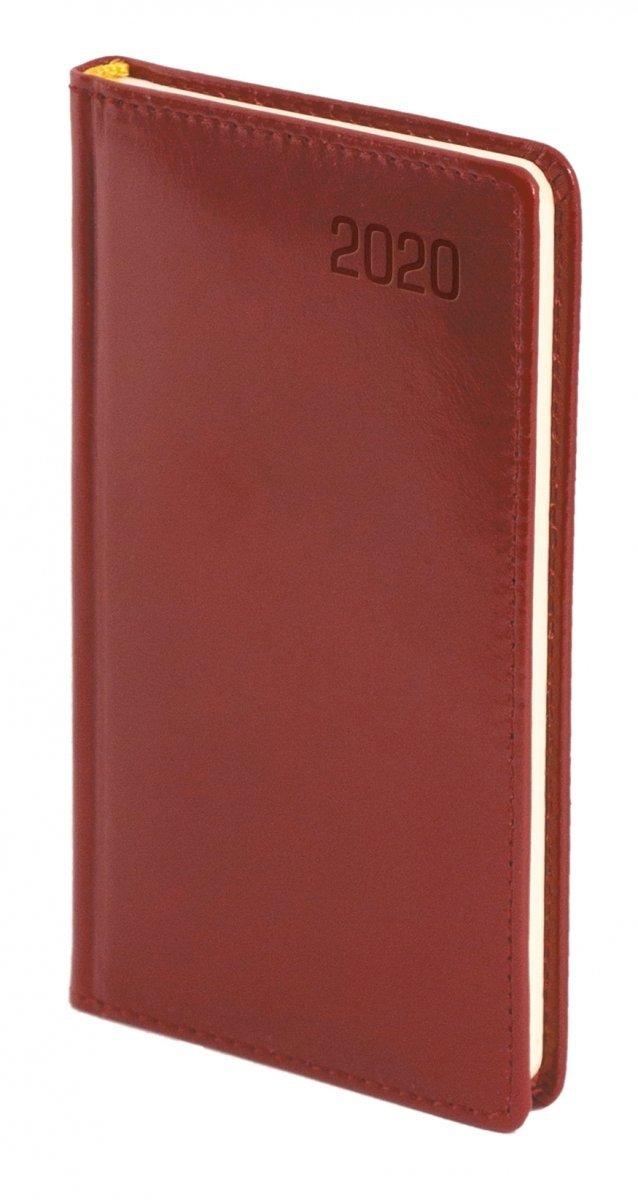 Kalendarz książkowy 2020 A6 tygodniowy oprawa KENIA - skóra naturalna bordo