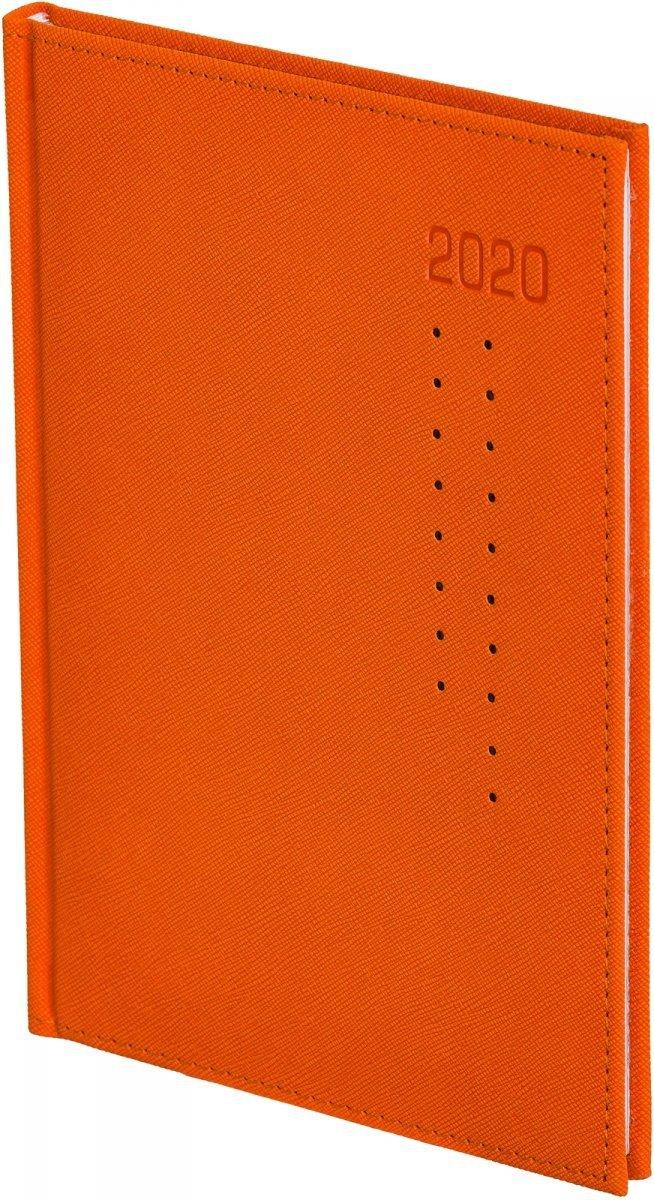 Kalendarz książkowy 2020 A4 tygodniowy oprawa ROSSA pomarańczowa/czarne kropki - oprawa przeszywana